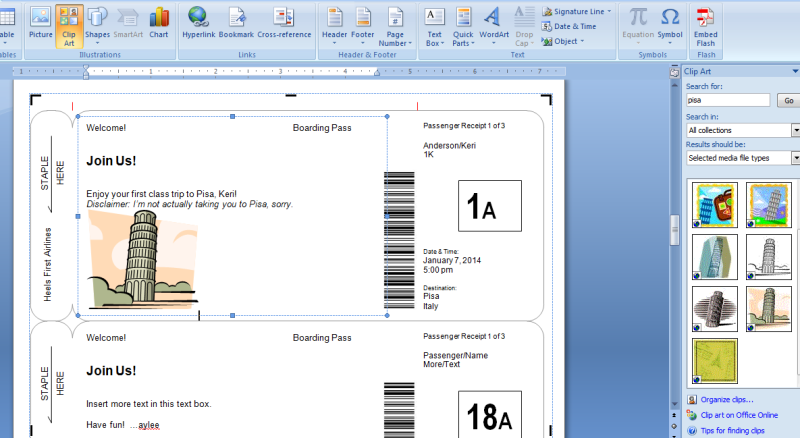 Making Fake Boarding Passes as Gifts Le Chic Geek – Plane Ticket Template