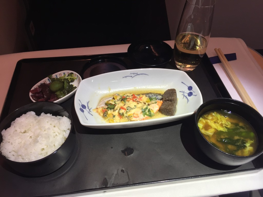 Grilled salmon, served with Japanese pickles, rice, and miso soup